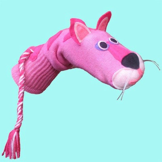 SALE Handmade Couture Pink Cat Sock Puppet