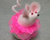 Felt Mouse Ballerina in Pink Tutu  soft sculpture  decoration