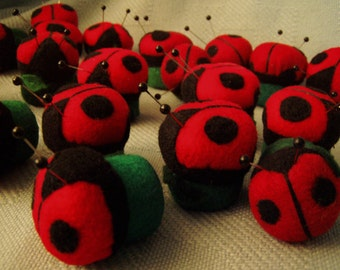 Ladybugs, ladybugs, ladybugs   tiny pin cushions, soft sculpture, decoration