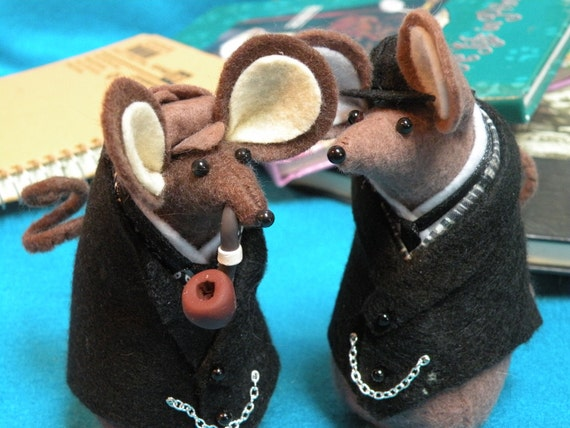 Sherlock Holmes and Watson Felt Mice   decoration ornament soft sculpture