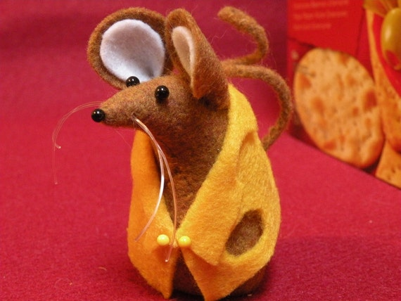 Felt Mouse in Cheese Vest   soft sculpture  decoration  ornament