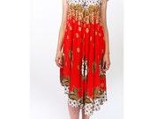 vintage batik hippie dress / original asymmetric hem XS