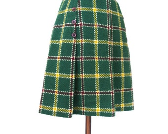 vintage 60s 70s plaid mini skirt XS // Mod green and yellow pleated // extra small