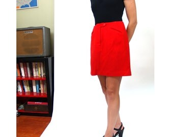 20 Sale // vintage 60s 70s orange ribbed mini skirt XS
