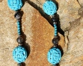 "Necklace Turquoise, Silver and Magnesite   ""Carved in Blue"""