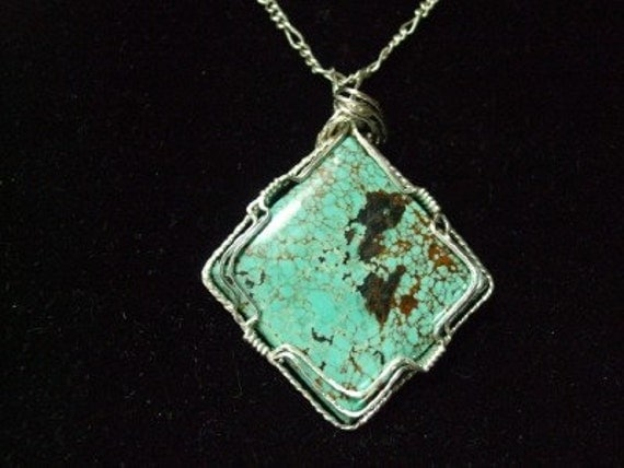 Turquoise Sterling Silver Wire Wrapped Pendant - Zilla  FREE 1ST CLASS SHIPPING