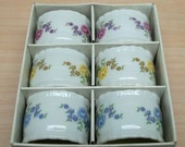 vintage Shafford porcelain napkin ring set of 6 2 0f each color blue red yellow flowers treasury item