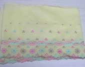 Vintage yellow floral flannel border  B-200 pink blue flowers sewing crafting projects costume making treasury item