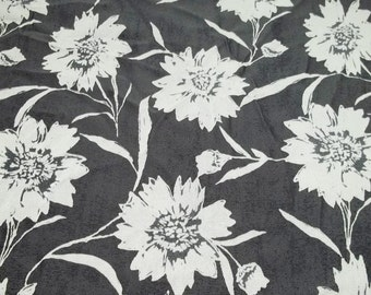 Black Fabric bold white flowers on black fabric B-102 treasury item sewing crafting projects, costume making