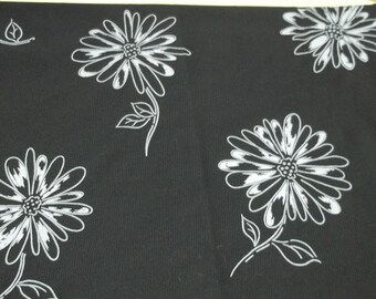 black vintage fabric/bold white flowers,black sheer lycra Fabric,B-101,black fabric,white flowers,sewing,crafting projects,costume making