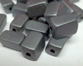 Charcoal grey plastic rectangular beads 10x5mm