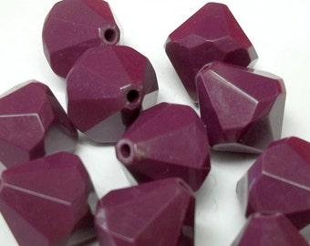 14x20mm vintage purple plastic conic beads treasury item