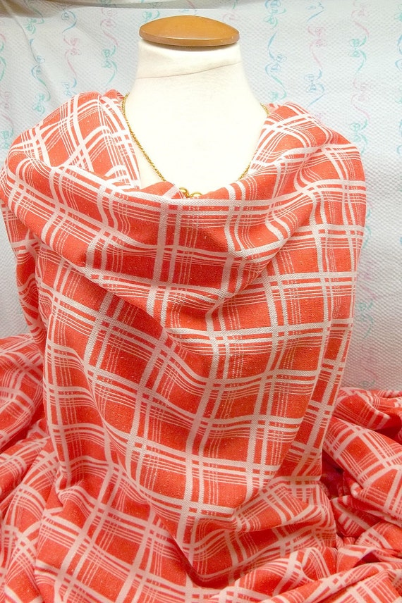 Vintage Orange plaid Fabric stretch polyester C-300 sewing, carft projects, costume making treasury item