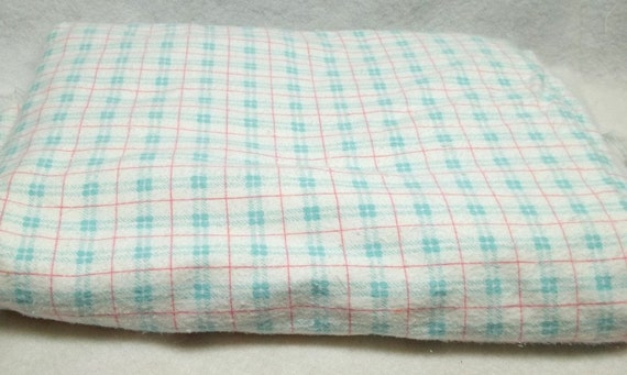 Sky blue pink white plaid flannelet fabric sewing,crafting and costume making projects
