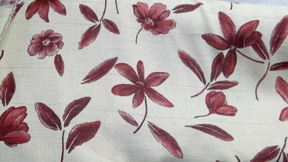 Burgundy flowers cotton fabric cream background textured D-120 treasury item