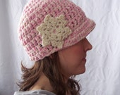 Women's Snowflake Hat in light pink and cream sparkle