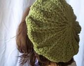 Women's Beret Tam Hat moss green crochet Carousel