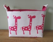 LARGE Fabric Organizer Basket Storage Container Bin Bucket Bag Diaper Diapers Holder Home Decor- Size Large- Pink/White Giraffe Canvas