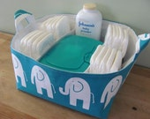 NEW Fabric Diaper Caddy - Fabric organizer storage bin basket - Perfect for your nursery - Turquoise Elephants