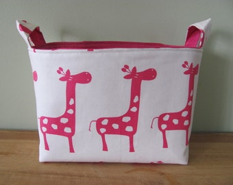 LARGE Fabric Organizer Basket Storage Container Bin Bucket Bag Diaper Holder Home Decor- Size Large - Pink/White Giraffe Canvas Fabric