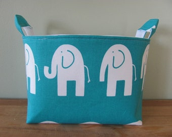 LARGE Fabric Organizer Basket Storage Container Bin Bucket Bag Diaper Holder Home Decor- Size Large - Elephants turquoise