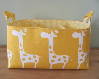 "Diaper Caddy - Fabric Storage Basket - 11""x11"" Organizer Bin - Storage box - Diaper Bag - Baby Gift - Nursery Decor - Yellow giraffes"