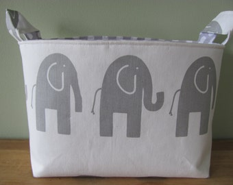 LARGE Fabric Organizer Basket Storage Container Bin Bucket Bag Diaper Holder Home Decor- Size Large - Grey Elephants
