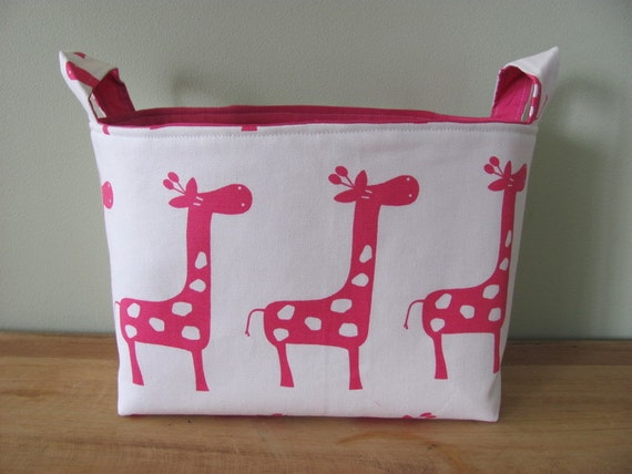 LARGE Fabric Organizer Basket Storage Container Bin - Size Large - Pink/White Giraffe Canvas Fabric