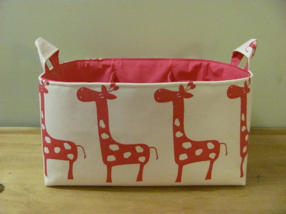 NEW Fabric Diaper Caddy - Fabric organizer storage bin basket - White and Pink Giraffe Canvas