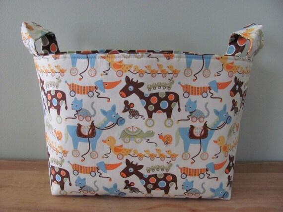 LARGE Fabric Organizer Basket Storage Container Bin Bucket Bag Diaper Holder Home Decor- Size Large  Mod Tod Green