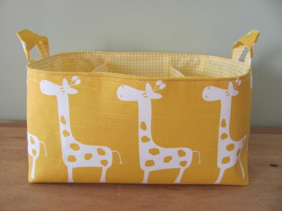 NEW Fabric Diaper Caddy - Fabric organizer storage bin basket - Perfect for your nursery - Yellow/White Giraffes