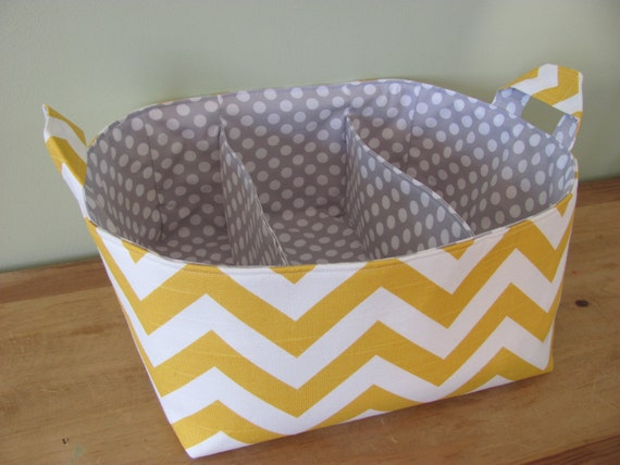NEW Fabric Diaper Caddy - Fabric organizer storage bin basket - Perfect for your nursery - Yellow Zig Zag