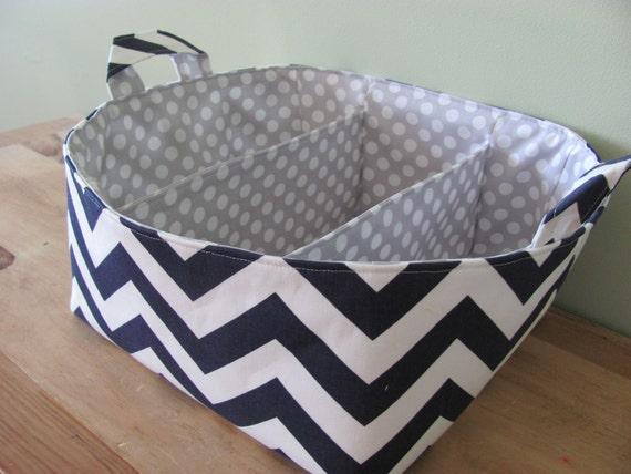 NEW Fabric Diaper Caddy - Fabric organizer storage bin basket - Navy Blue Zig Zag