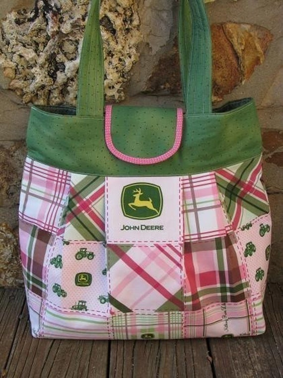 Large Size Pink and Green John Deere Pleated Purse