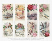 Digital Reprint Vintage Birds Roses Scenery Collage Art Sheet 61