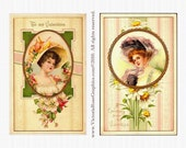 AVS117 Attic Valentine Digital Image Set Victorian Ladies Cameo Vintage Pair