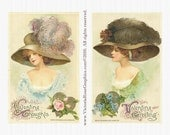 AVS118 Attic Valentine Digital Image Set Victorian Ladies Fine Millinery Plumes Pair