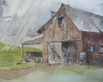 Original Watercolor - Barn and Wagon
