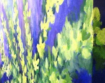Original Acrylic Painting Yellow Forsythia