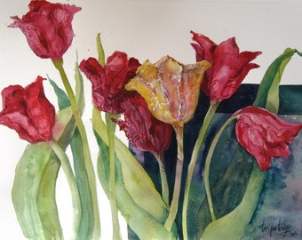 Red and Yellow Tulips - Original watercolor