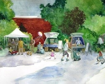 Original Watercolor - Early Morning Market