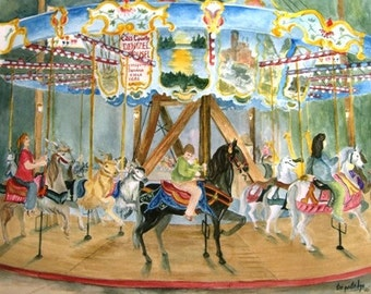 PRINT of Colorful  Watercolor - Carousel Afternoon - 12 x 9.5