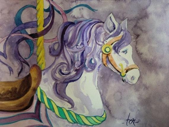 Carousel Pony Original Watercolor