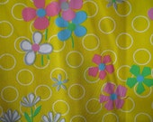 Very Very Bright Flowers and Circles - 1 yard - Cotton - 1960s