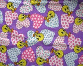 TWEETIE BIRD Purple Hearts - Fat Quarters -  Cotton - 1994