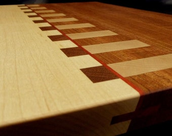 Mirrored Rectangles Cutting Board- Maple and Jatoba