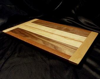 Warm Tones Wooden Cutting Board w/ Cherry End Caps