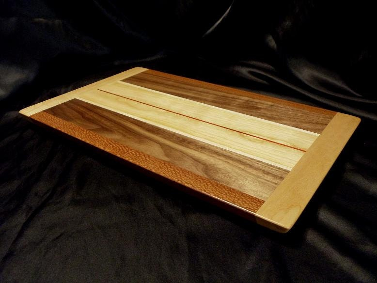 Warm Tones Wooden Cutting Board W Cherry End Caps
