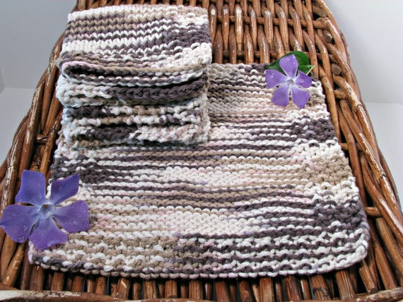 Dish Cloth Hand Knitted Classic Brown 3/pk