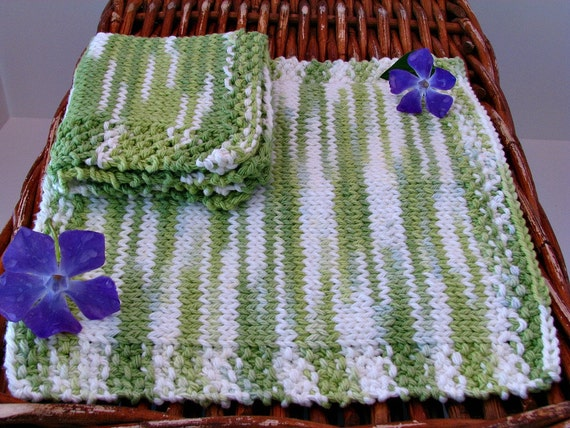 Dish Cloth Hand Knitted Classic Green 2/pk